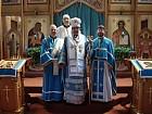 Bishop Nikon with Fr. John, Deacon Paul, and John Kuzmich after Liturgy