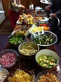 We enjoyed a wonderful bring-and-share meal, highlighted by BBQ ribs and other delicious food!